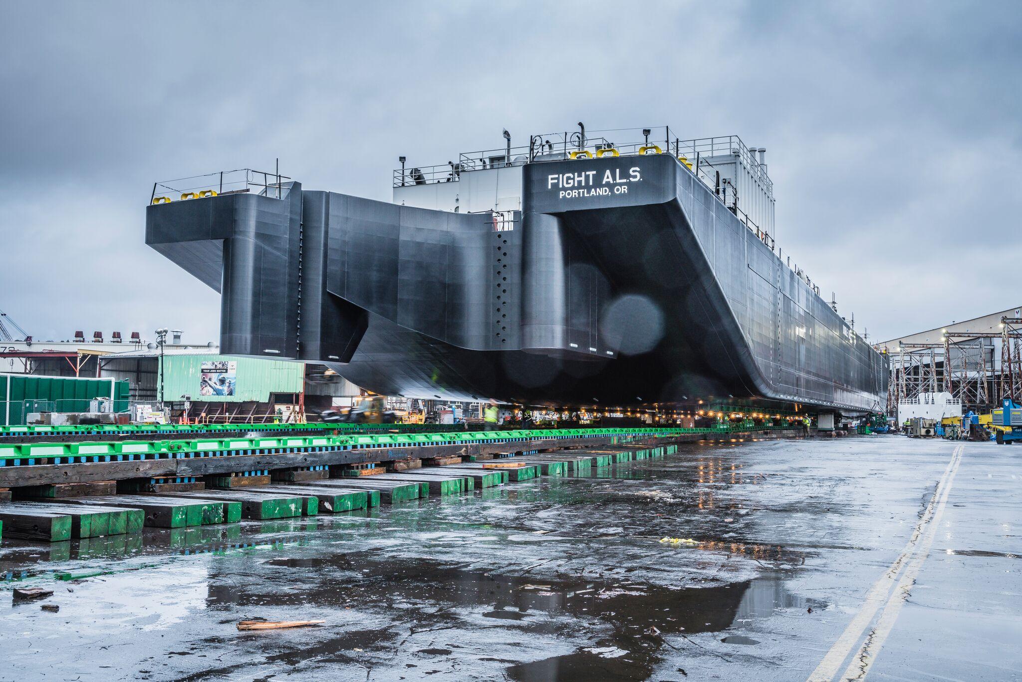 Moving 4,000 ton barge utilizing Omega Morgan heavy slide system