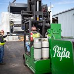 "Omega Morgan Machinery Moving team using ""Big Papa"", a Hoist FR 40/60 forklift, to move metal fabrication equipment"