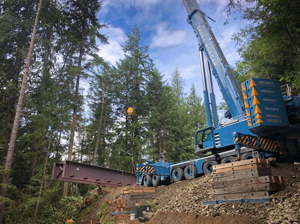 A bridge being put in by Omega Morgan Sarens and Minner with a Liebherr 500-ton crane in a Port Angeles rainforest