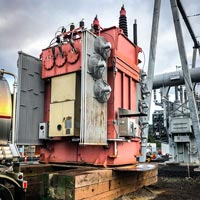 selected thumbnail button of a fully dressed transformer ready to be moved at Portland General Electric substation