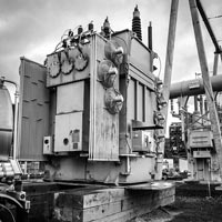 deselected thumbnail button of a fully dressed transformer ready to be moved at Portland General Electric substation