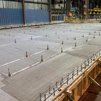 selected thumbnail button of concrete poured by Omega Morgan millwright and industrial team to support a new rebar storage table