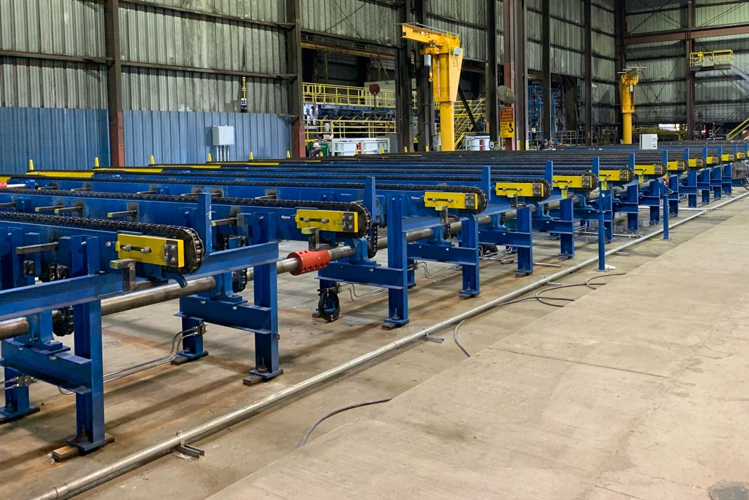rebar storage table installed by Omega Morgam millwright and industrial crews