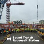 group photo of entire crew for the Sound Transit Roosevelt Station Tower Crane Dismantle project in Seattle