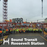 selected thumbnail button of group photo of entire crew for the Sound Transit Roosevelt Station Tower Crane Dismantle project in Seattle