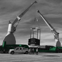 black and white and green thumbnail of lifting compressor package over 150-ton dual lane trailer