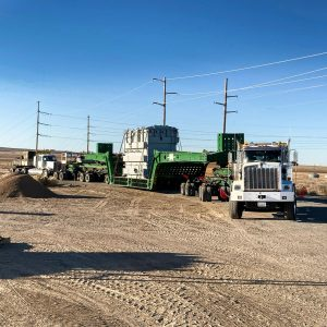 Omega Morgan specialized transportation trailer carrying a transformer near Jerome, Idaho