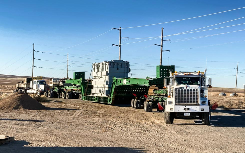 a transformer near Jerome, Idaho, strapped into an Omega Morgan specialized transportation trailer