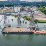 large dock and ship loader with omega morgan crews at work