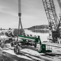 deselected thumbnail button of Omega Morgan Millwright crew and equipment on the dock at Kalama Export