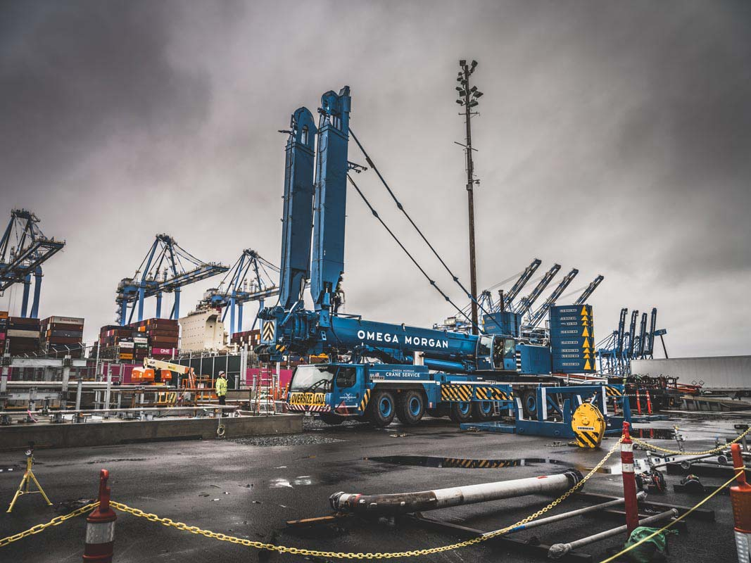 blue Omega Morgan Leibherr crane with y-guy ready to be set up at Puget Sound Energy