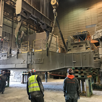 full color thumbnail of omega morgan crews onsite to replace a ladle turret at Cascade Steel Mills