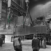 black and white thumbnail of omega morgan crews onsite to replace a ladle turret at Cascade Steel Mills