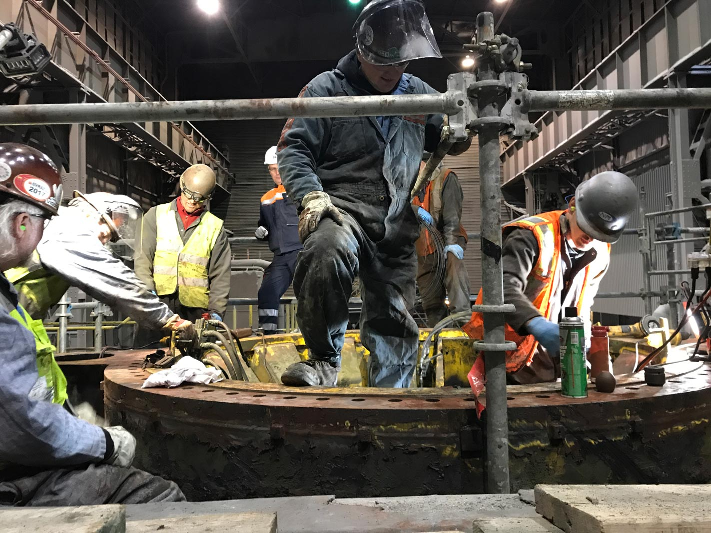 Omega Morgan millwright crew working on a steel mill ladle turret replacement for cascade steel mills