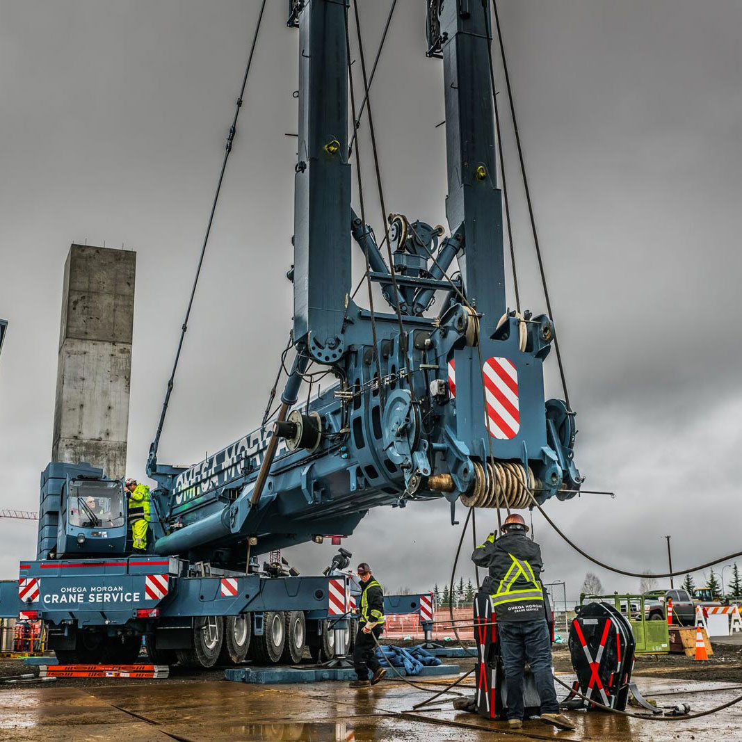 Crews setting up Blue Omega Morgan Crane