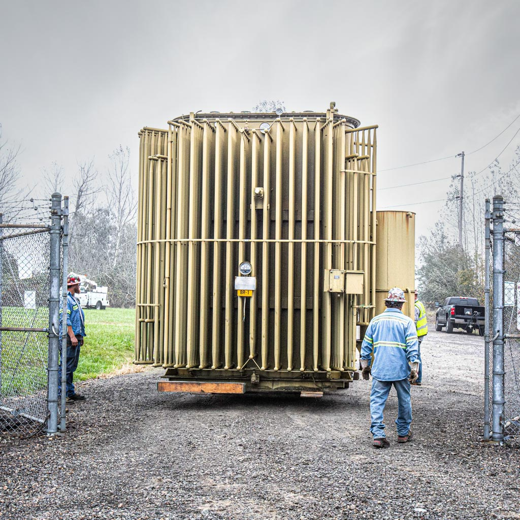Omega Morgan machinery moving team at a transformer technologies substation getting ready to move a PGE transformer offsite