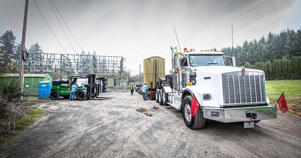 Omega Morgan machinery moving team at a transformer technologies substation preparing to move a PGE transformer offsite