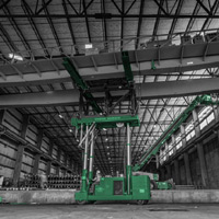 black and white and green thumbnail of bridge crane lifted on tri lifter