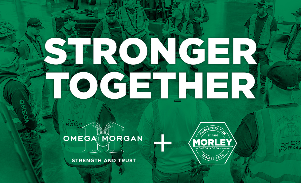 Omega Morgan green group photo with text 'Better Together' and Omega Morgan and Morley Machine Tool logos