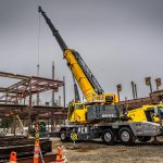 Omega Morgan Sarens 115-ton Grove TMS9000-2 crane at Mirror Lake Elementary School in Federal Way, Washington