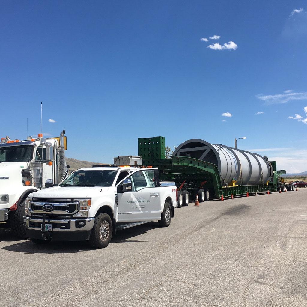 a trail gas drum on an Omega Morgan 100-Ton Dual Lane Loader trailer