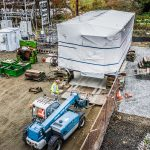 Omega Morgan machinery moving team placing a heavy load on soft ground at Vashon Island Substation