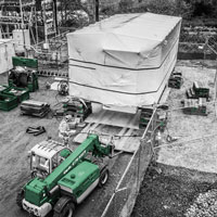 deselected thumbnail button of Omega Morgan machinery moving team placing a heavy load on soft ground at Vashon Island Substation