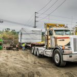 Semi truck delivering transformer at Vashon Island Substation