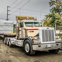 selected thumbnail button of Semi truck delivering transformer at Vashon Island Substation