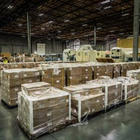 selected thumbnail button of rows of organized boxes and equipment inside an omega morgan warehouse and storage facility