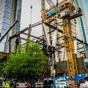 downtown seattle 2+U office tower frame being set up by cranes and equipment