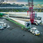 Omega Morgan loading a wind turbine blade for transportation at the Port of Lewiston in Idaho