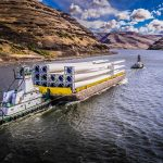 One of 12 barges transporting wind turbine blades to the Port of Lewiston in Idaho to be offloaded by the Omega Morgan team