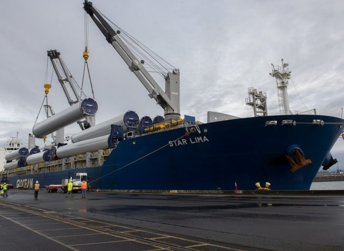 at the Port of Portland, wind turbine parts being offloaded at terminal six