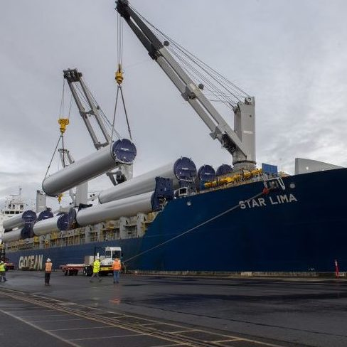 wind turbine parts being offloaded at terminal six at the Port of Portland
