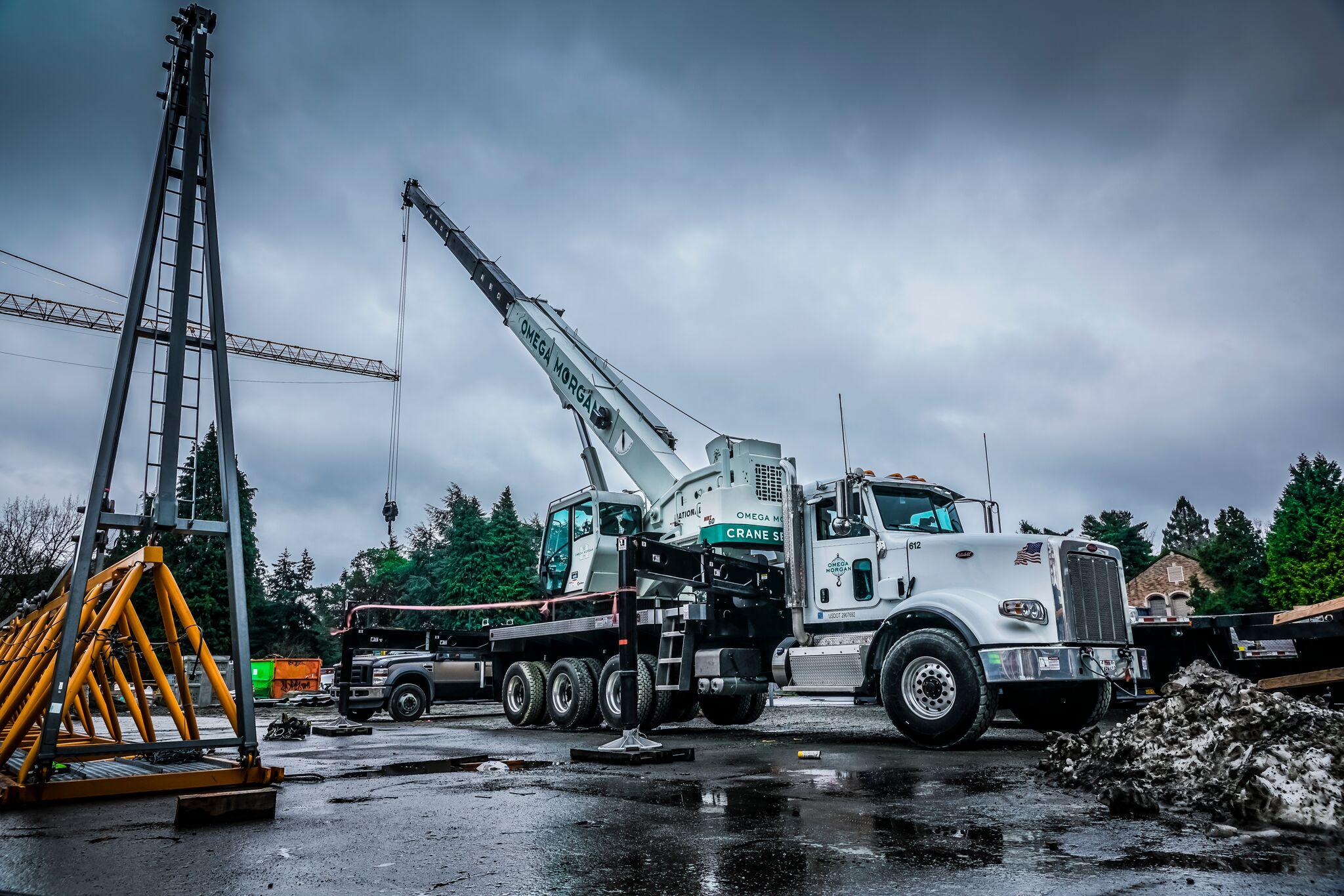 omega morgan 60-ton boom truck at University of Washington