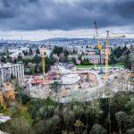 Omega Morgan cranes setting up a tower crane at University of Washington