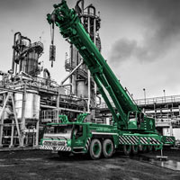 black and white and green thumbnail of omega morgan crane at chemical plant in Longview, Washington