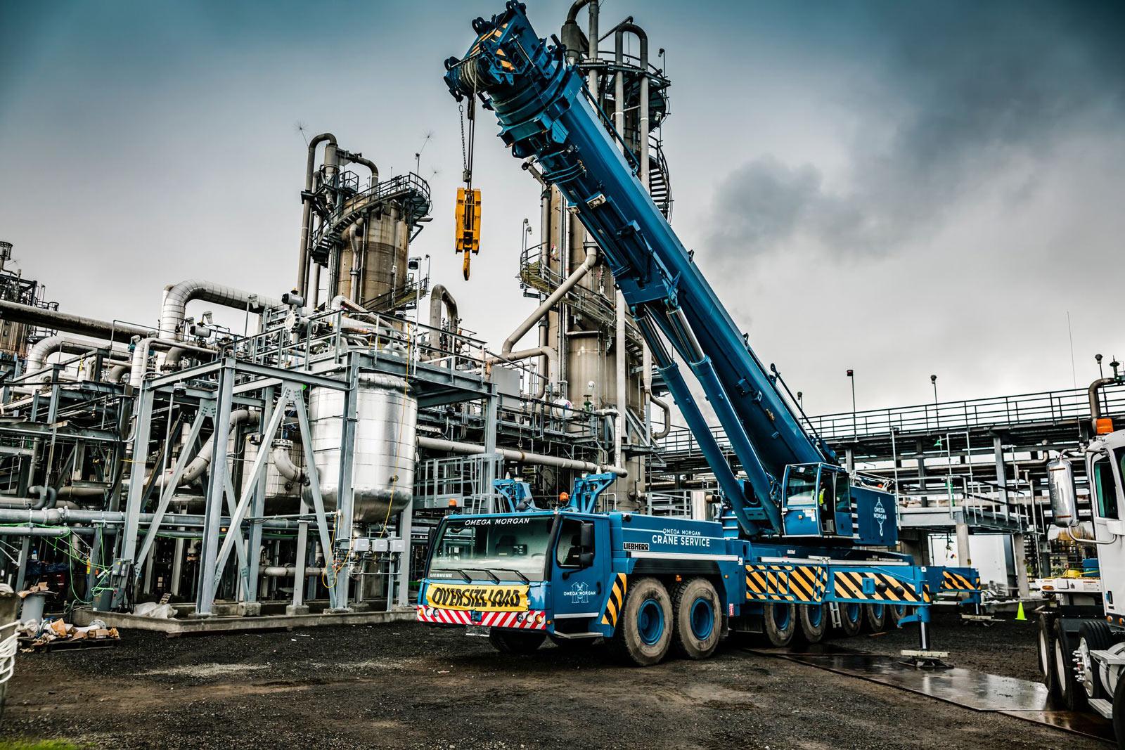 blue omega morgan crane at chemical plant in Longview, Washington