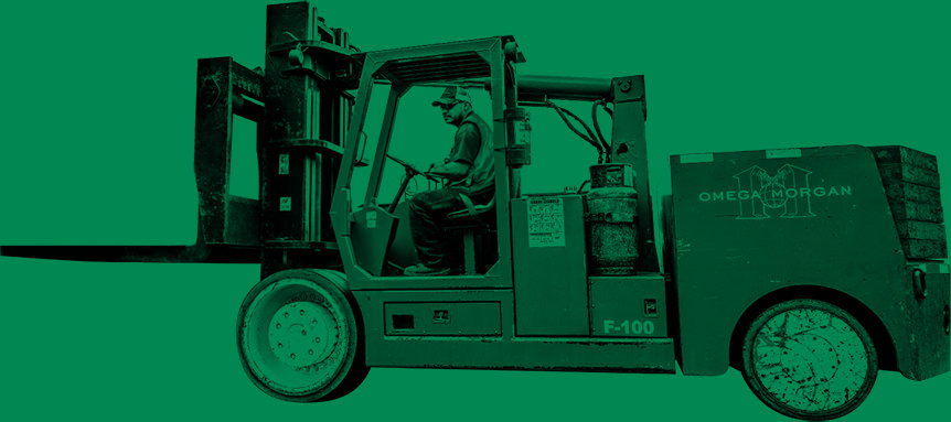 guy driving an omega morgan forklift on a green background