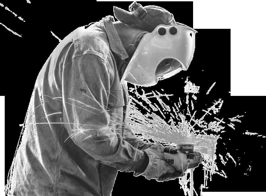 millwright wearing welding mask