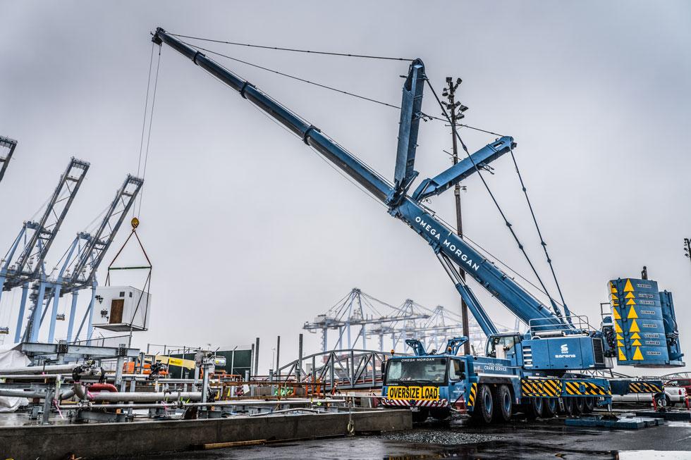 Omega Morgan crane working at a jobsite