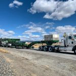 A transformer in a specialized transportation rig on the road to Anaconda, Montana.