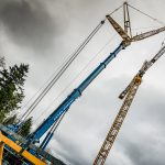 485 ton Liebherr placing inner jib of tower crane