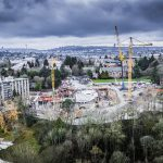 Erecting tower crane at University Of Washington