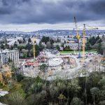 Erecting tower crane at University Of Washington