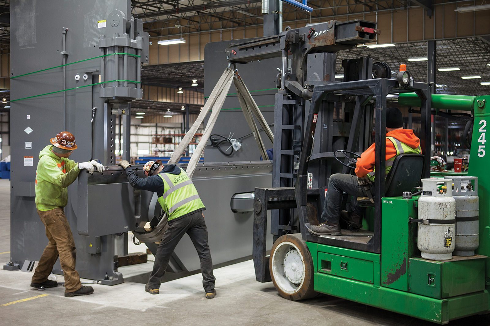 Installing press brake at new manufacturing facility
