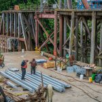 Omega morgan crew working on seismic structural upgrade for bridge