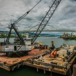 Derrick barge / crane service of dock pile repair