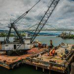 Derrick barge / crane service of dock pile repair